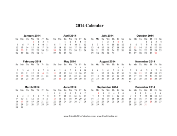 2014 Calendar (horizontal, descending, holidays in red) Calendar