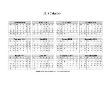 2014 Calendar on one page (horizontal, week starts on Monday) Calendar