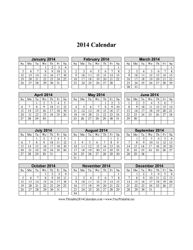 2014 Calendar on one page (vertical grid) Calendar