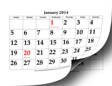 2014 Calendar with Large Dates Calendar