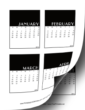 2014 Vertical Scrapbook Calendar Cards Calendar