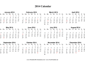2014 Calendar on one page (horizontal, holidays in red) calendar