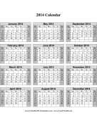 2014 Calendar on one page (vertical, shaded weekends) calendar