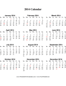 2014 Calendar on one page (vertical, holidays in red) calendar